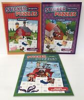 Lot Of 3 Sticker Puzzles Pirates, Cats & Dogs, Barnyard Fun! Kids Puzzle Books