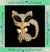 Vintage AB Aurora Borealis Diamante Paste Pave Marquise Cat Kitten Brooch Pin