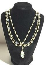 Fabulous vintage 3 strand Faux Pearl & AB Crystal Draping Necklace  NR