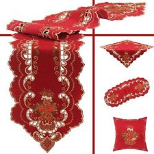 Embroidered Christmas Tablecloth Table Runners Doily Linen-look Candle Dark-Red
