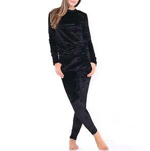 New Women's Ladies Crushed Velour Velvet Warm Tracksuit Set Sweater Lounge 2 Pc