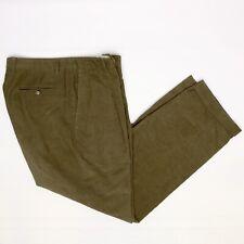 Ermenegildo Zegna Mens Corduroy Pants 34x31 Solid Brown Pleated Trousers
