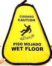 Folding Portable Caution Nylon Wet Floor Sign Yellow English Spanish Cone Slip