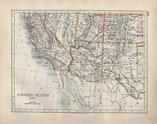 1904 Antiguo Mapa ~ Estados Unidos South West ~ California Arizona Nuevo México Utah