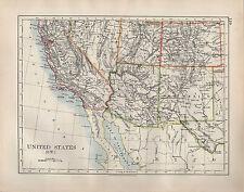 1904 Antiguo Mapa ~ Estados Unidos South West ~ California Arizona Nuevo México Utah