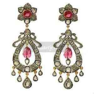 Sterling Silver 925 Victorian Jewelry Ruby & Polki Pave Diamond Handmade Earring