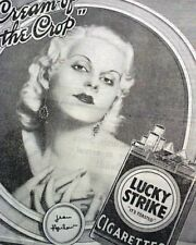 JEAN HARLOW Hollywood Film Actress & Sex Symbol CIGARETTES Ad 1932 Old Newspaper