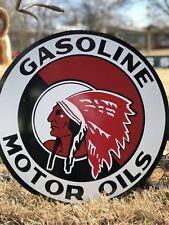 "Antique Vintage Old Style Red Indian Motor Oil Sign 24""  !!!!!! SALE !!!!!!!"