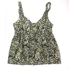 Tommy bahama sleeveless v neck floral top silk cotton green 10 medium new