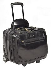 Real Leather Laptop Pilot Case Business Weekend bag on wheels Sturdy Black