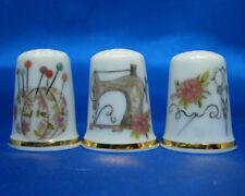 Birchcroft China Thimbles -- Set of Three -- Floral Sewing Ideas
