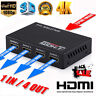 New Full HD HDMI Splitter Amplifier Repeater 3D 1080p 4K 1 IN 4 OUT Hub 1X2 1X4