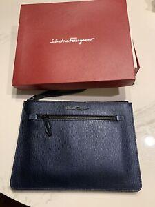 New Auth Salvatore Ferragamo Unisex Zip Blue Leather Document Holder Clutch $850