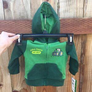 🚜 John Deere NWT Baby 3/6 Mo. Hoodie Full Zip Sweatshirt Green Tractor Cute