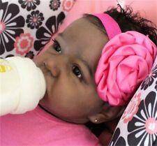 "22"" Handmade Black Skin Reborn Baby Girl Doll Realistic Soft Vinyl Silicone Doll"