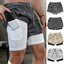 Men 2 in 1 Sports Shorts Sweat Shorts Running Quick Dry Towel Loop Trousers O3