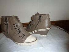 38c6a160e0ffd Ash Womens High Top Wedge Sneakers Leather Size 8 TAN