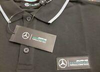 F1 Mercedes Petronas AMG Black Polo Shirt Brand New