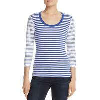 Three Dots Womens Blue Striped Scoop Neck Pullover Top Shirt M BHFO 7061