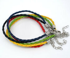 20 X NEW 20cm Faux Leather Braided/Plaited Bracelets Jewellery Craft 5 Colours