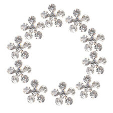 10x Alloy Flower Rhinestone Embellishment Flatback Crystal Button DIY Craft