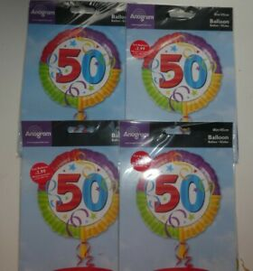 """JOB LOT 4 X 18"""" FOIL BALLOONS - NEW IN PACK HELIUM / AIR - AGE 50 50TH BIRTHDAY"""