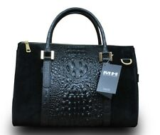 Made in Italy Damen Tasche Bag Echt Nubuk Leder Kroko Alligator Prägung Schwarz