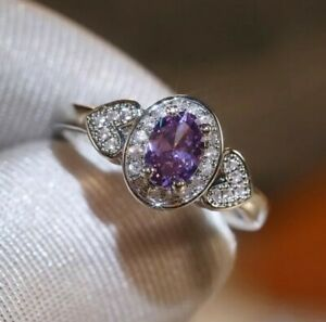 Womans Size O 1/2. Oval Cut Amethyst & White Topaz Silver Ring