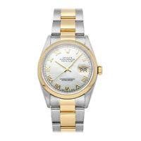 Rolex Datejust Auto 36mm Steel Yellow Gold MOP Men Oyster Bracelet Watch 16203