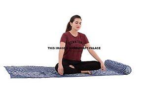 Indian Hand Block Print Natural Meditation Yoga Pilates Cushion & Cotton Mat Set