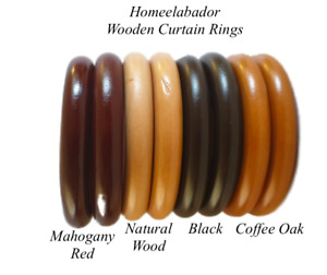 35mm Wooden Curtain Hook Rings with Eyes Mahogany Red, Oak, Natural Wood & Black
