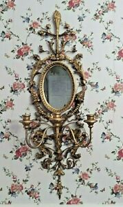ANTIQUE ITALIAN GOLD CARVED WOOD GESSO AND METAL 3 CANDLE  MIRROR WALL SCONCEECE