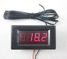 DC12V Red Digital Thermometer High Low Alarm -60~125C Temperature +2m Temp Probe