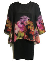 TED BAKER Women's UK 6 Size 0 Chic Floral Caped Bombshell Shift Dress Glam Party