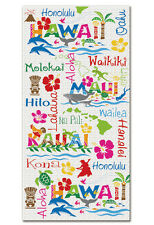 Hawaiian Large Beach Towel Aloha Hawaii Islands Icons Waikiki Honolulu White NIB