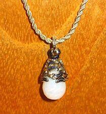 Faberge Inspirado Plata Azul Ópalo De Cristal De Swarovsky Motif Cadena Colgante Regalo de huevo