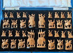 Antique Rajasthani Hand Carved Sandalwood Chess Set Rare Design Vintage Handmade