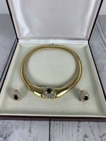 Vintage jewellery blue stone gold tone necklace and clip on earrings boxed