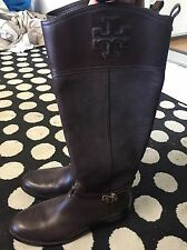 $495 TORY BURCH SIMONE Riding Boot Tall Flat Equestrian Bootie Sz 10 Brown Logo