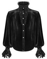 Punk Rave Mens Gothic Poet Shirt Top Black Velvet Lace Steampunk Vampire Regency