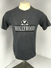 VTG 90s Cal Cru Hollywood LA Movie Camera Film Black Gray Striped S/S Sz M Shirt