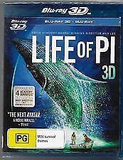 LIFE OF PI 3D BLU RAY - NEW & SEALED INC 2D & 3D VERSIONS, ANG LEE, OSCAR WINNER