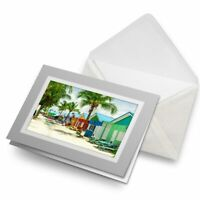 Greetings Card (Grey) - Colorful Beach Houses Barbados  #16607