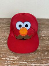 Sesame Street Elmo Baseball Cap Hat Cotton Snap Back Embroidered Red Mustache