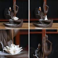 Buddha Incense Burner Cones Ceramic Backflow Stick Waterfall Fragrances
