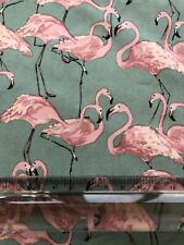 Flamingos in Light Teal and Soft Pink Cotton Lawn Fabric - Lady McElroy Fabric