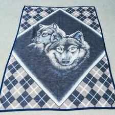 Biederlack Wolves Blanket with Argyle Background Blue Brown Wolf