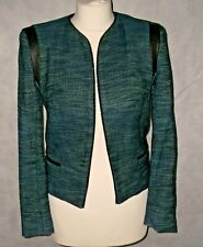 SANDRO PARIS Tweed jacket with lamb leather trim size 38 UK 12 blue green