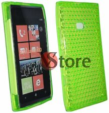 Cover Custodia Per NOKIA Lumia 900 Verde Silicone Case Gel Diamond + Pellicola