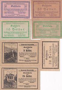 Lot, Austria Neuftift Heller 1920  Printed on ration card Notgeld 7 pcs (B337)